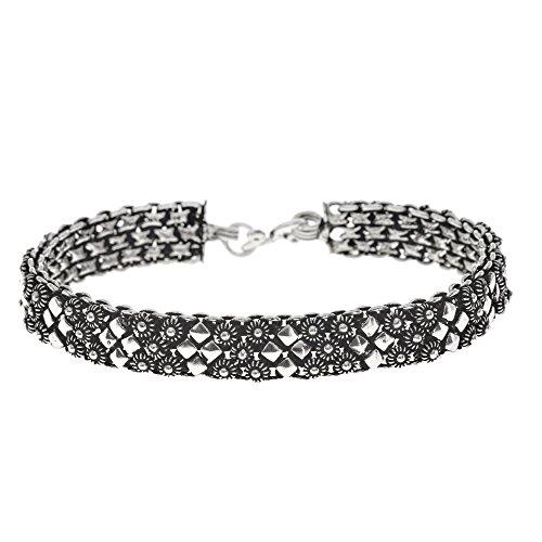 (Silverly Women's .925 Sterling Silver Vintage Art Deco Style Oxidised Floral Geometric Bracelet,19cm)