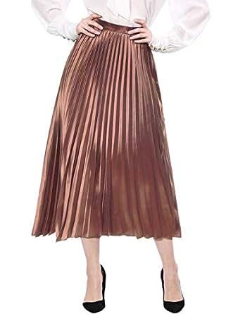 Allegra K Women's Accordion Pleats Metallic Midi Skirt L Copper