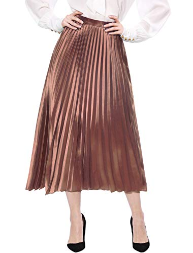 Allegra K Women's Accordion Pleats Metallic Midi Skirt XS Copper