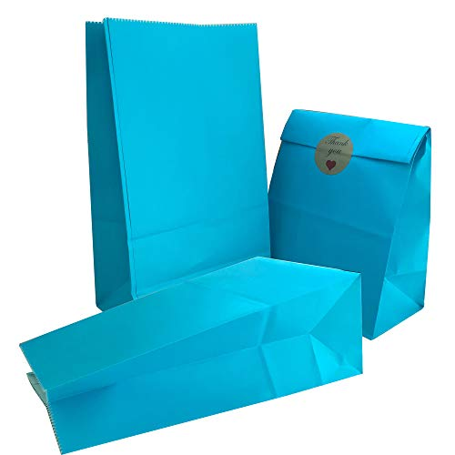 Party Bag 50 pcs Food Safe Kraft Paper and Ink, Natural (Biodegradable), Vivid Colored Candy Cookie Buffet Bags, Bottom Square Bag.Lihgt Blue.with 48 pcs Thank You Stickers 1.5 inch.]()