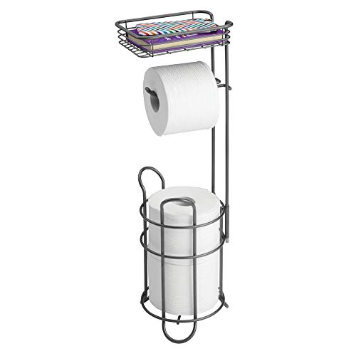 - mDesign Freestanding Metal Wire Toilet Paper Roll Holder Stand and Dispenser with Storage Shelf for Cell, Mobile Phone - Bathroom Storage Organization - Holds 3 Mega Rolls - Graphite Gray
