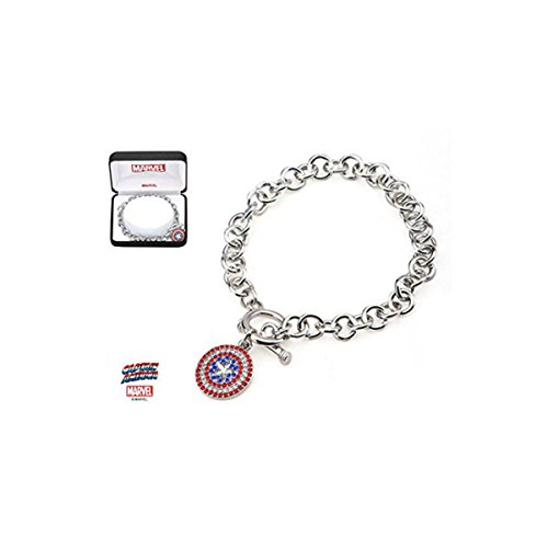 Marvel Comics Licensed Women's Stainless Steel Captain America Multi-Gem Logo Bling Charm with Precision Set Red, Blue and Clear Cubic Zirconias Toggle Clasp Bracelet (with Gift (Multi Charm Toggle Bracelet)