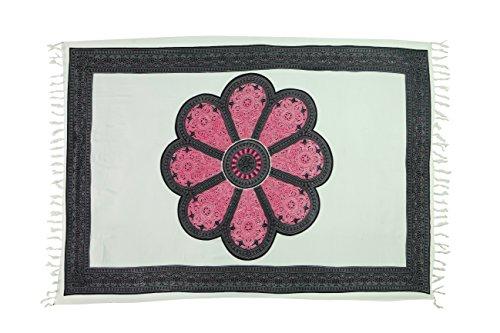 35Modelos sarong pareo Falda Playa Toalla wickel Toalla de mano gratis hebilla cierre Blume Pink Weiß M3