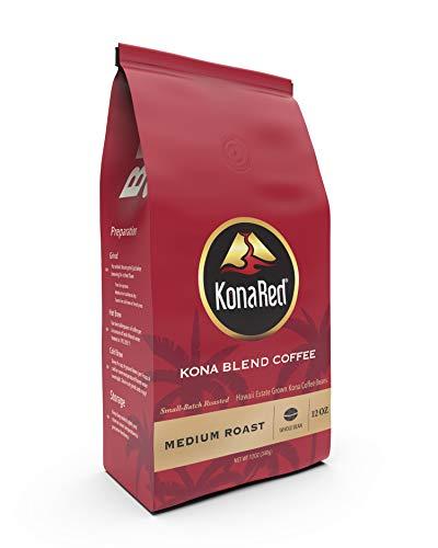 KonaRed Premium Hawaiian Kona Blend Coffee -Whole Bean - Medium Roast, Small Batch Roasted, Smooth Rounded Flavor (1 lb)