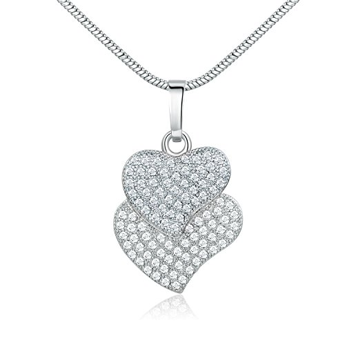 GULICX Silver Tone Gift White Clear Full Cubic Zirconia 2 Heart Necklace Pendant Chain