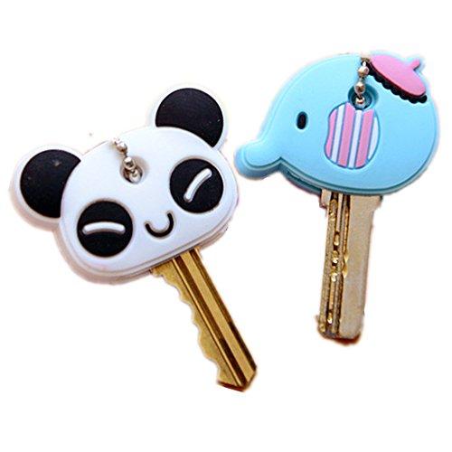 Pack of 10 Cute Cartoon Animal ID Identify Assorted Plastic Sleeve Cap Tag Key Ring