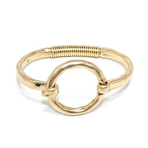 (POMINA Geometric Shape Tension Bangle Hammered Metal Bracelets (Circle)