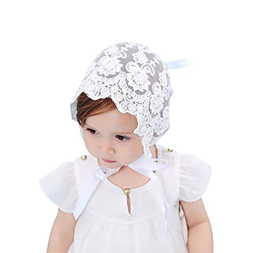 Baptism Bonnet - Baby Little Kids Toddlers Breathable Lacy Bonnet Eyelet Cotton Adjustable Sun Protection Hat (White-4)