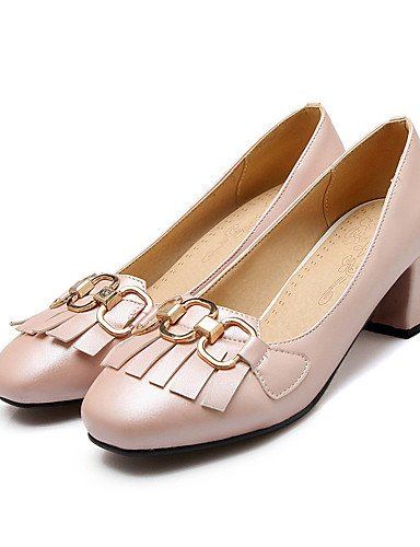 GGX/ Damenschuhe-High Heels-Büro / Kleid / Lässig-Kunstleder / maßgeschneiderte Werkstoffe-Blockabsatz-Absätze / Pumps / Quadratische Zehe- gray-us9 / eu40 / uk7 / cn41