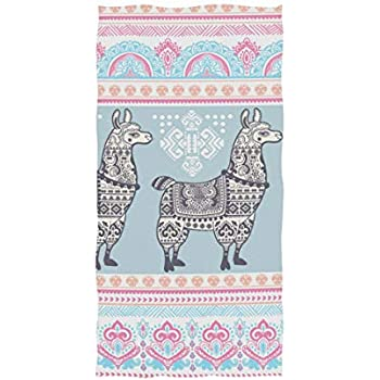 Naanle Chic Boho Beautiful Llama Paisley Floral Soft Bath Towel Highly Absorbent Large Hand Towels Multipurpose for Bathroom, Hotel, Gym and Spa (16