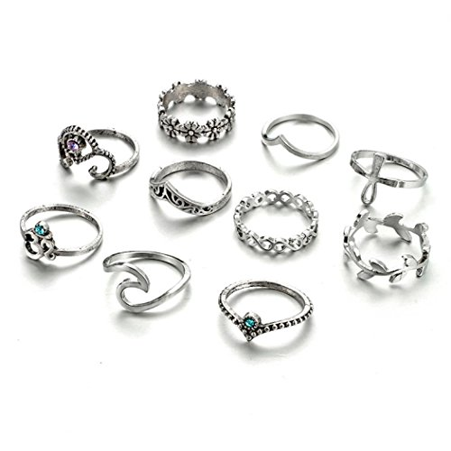 Fiber Snap Carbon Heart (Botrong 10pcs/Set Women Bohemian Vintage Silver Stack Rings Above Knuckle Blue Rings Set)