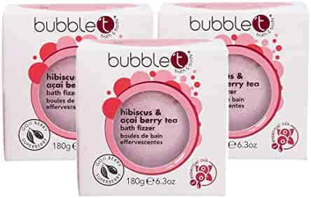 Bubble T Hibiscus & Acai Berry Tea Bath Bomb Fizzer, 180g, Pack of 3