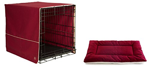 (Pet Dreams Extra Large Classic Dog Crate Cover with XL Sleep-eez Bed (Burgundy))