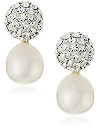 14k Yellow Gold, Crystal, and Freshwater Cultured Pearl Drop Earrings