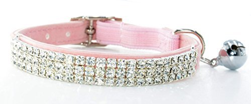 (Fashion Adjustable Cat Collar Soft Velvet Safe Collars Bling Diamante with Bells)