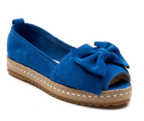 BOBERCK Gigi Collection Women's Suede Flat Espadrilles Suede- Red - Blue - Black - Ladies Espadrilles (9 B(M) US, Blue)