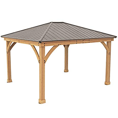 Yardistry 12' x 14' Wood Gazebo with Aluminum ()