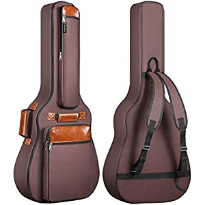 CAHAYA Gitarrentasche Akustikgitarren Taschen Gig Bag 40 41 42 Zoll wasserdichte Guitar Bag Braun 12mm Gepolsterte für Konzertgitarren (verbesserte Version)