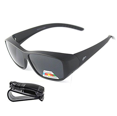 Fit Over Polarized Sunglasses Lens Cover Sunglasses plus car clip - Glass Polarized Tempered Sunglasses