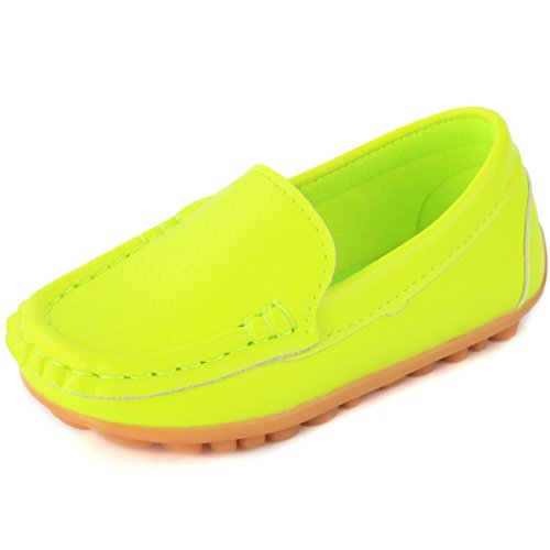 Femizee Toddler Boys Girls Loafers Shoes Casual Moccasin Slip On Dress Wedding Shoes for Kids,Fluorescent Green,1301 CN 29