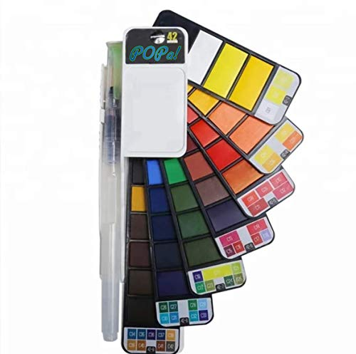 POPa! Watercolor Paint Set - 42 Vibrant Colors - Foldable Professional Paint Kit with Water Brush- Portable Travel Watercolor Set-Adults & Kids Travel Paint Set- Watercolor Travel Palette