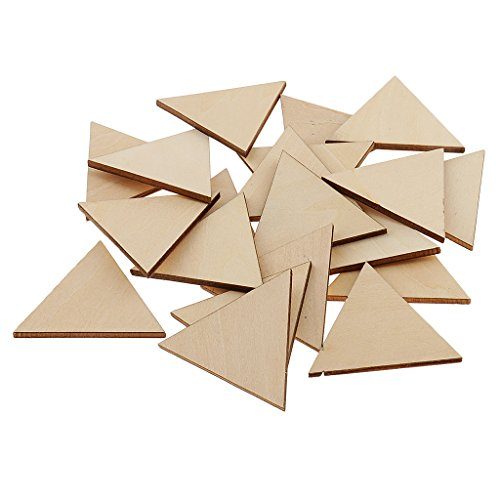 MagiDeal 3 mm Thick Pine Wood Triangle Unfinished Wooden Slices DIY Craft Projects,Model making,Home Decoration - 50mm