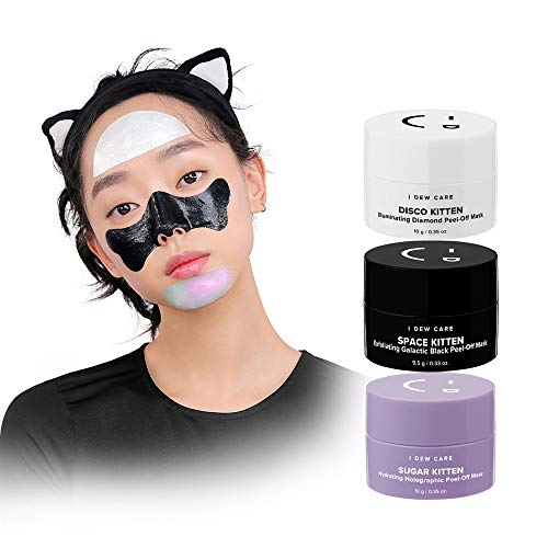 I DEW CARE Mini Meow Face Mask Trio Set 3ea, 3 Mini Chrome Masks, Sugar Kitten! Space Kitten! Disco Kitten! Great Addition To Your Skin Care Routine, For Exfoliating, Hydrating, And An Extra Glow