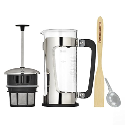 Espro Press P5 French Press Coffee Maker (18 ounce) Bundle with Bamboo Paddle, 1 tbs Coffee (A-line Scoop Sweep)