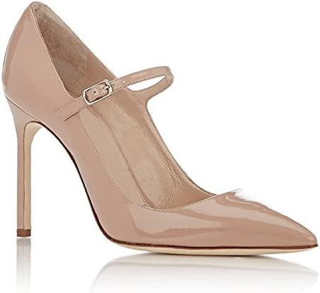 Eldof Womens High Heel Pointed Toe Mary Jane Pumps Ankle Strap Buckle Closure Shoes 10CM Nude US10