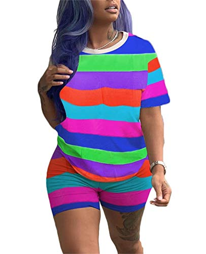 Womens 2 Piece Outfits Rainbow Print Crew Neck Short Sleeve T-Shirt Bodycon Short Pants