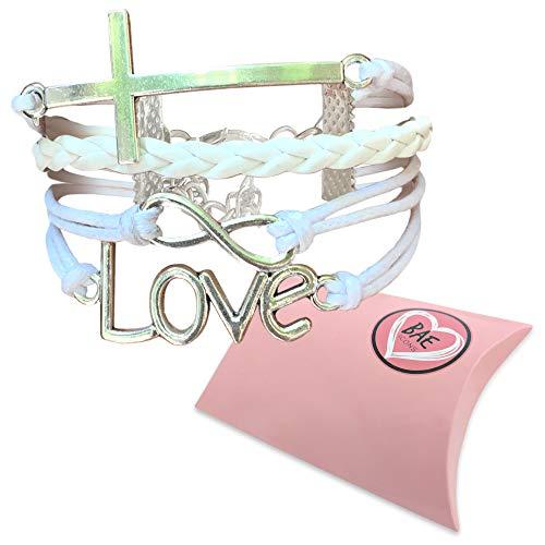 BAE Icons Infinity LOVE & CROSS Jesus bracelet, Christian religion bracelet. Women and Girls Christian Gift, Christian Youth, teacher appreciation gift. Love Bracelet gifts for girlfriends.Gift Box Sm