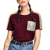 Women Blouse,Lowprofile Women's Sequins Pocket Short Sleeve O-Neck Pullover Tops Tee T-Shirt