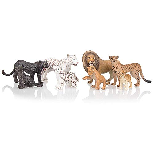 """(TOYMANY 8PCS 2-5"""" Plastic Safari Animals Figure Playset Includes Baby Animals, Realistic Lion,Tiger,Cheetah,Black Panther Figurines with Cub, Cake Toppers Christmas Birthday Toy Gift for Kids Toddlers )"""