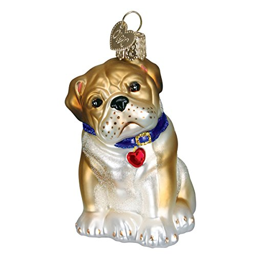 Old World Christmas Glass Blown Ornament with S-Hook and Gift Box, More Dogs Collection (Bull Pup)