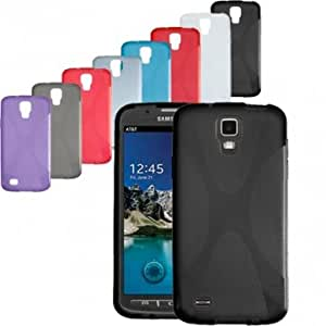 Soft Gel Skin X-Line TPU Case Cover For Samsung i9295 Galaxy S4 Active --- Color:Blue