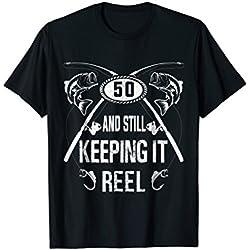 Funny 50th Fisherman Fishing Birthday Gifts Bass Men Tshirts