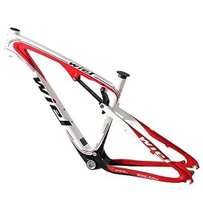 Wiel B013 Carbon Suspension Mountain Bike Frame 26er MTB Frameset - Ud Glossy Red 16.5''/17.5''