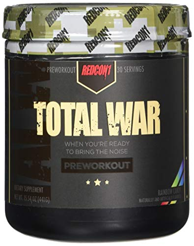 Redcon1 Total War - Pre Workout, Rainbow Candy, (30) Servings, Boost Energy, Increase Endurance and Focus, Beta-Alanine, Caffeine