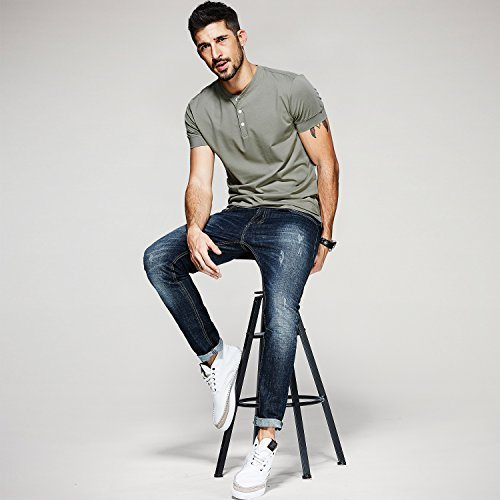 Men Casual T Shirt V Neck Short Sleeve Cotton Button Stylish Loose Slim Fit Sport Workout Outdoor Wear Gym Beach Party Hiking Travel Business Working Weekend Henley Shirts High Elasticity(MArmyGreen) by VAVE (Image #1)