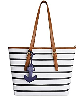Beach Bag, Coofit Stripes Summer Purse Tote Shoulder bag Womens Handbag PU Leather Purse with Sea Anchor Pendant , Large