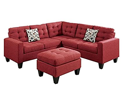 Modern Contemporary Polyfiber Fabric Modular Sectional Sofa And Ottoman Set  (Red)