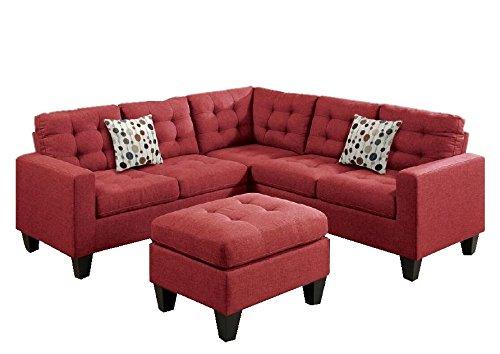 Modular Corner Sofas (Modern Contemporary Polyfiber Fabric Modular Sectional Sofa and Ottoman Set (Red))