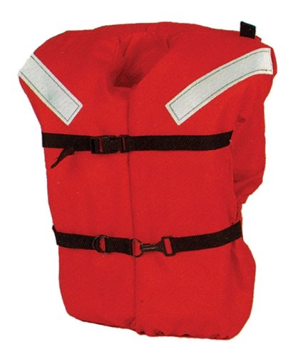 Life Offshore Vest - KENT Commercial Type I Jacket Style Life Jacket, Adult Over 90 Pounds, Orange