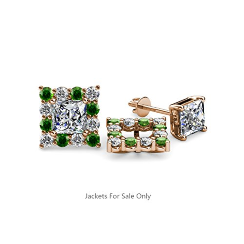 Green Garnet and Diamond Halo Jacket for Princess Cut Stud Earrings 0.80 ct tw in 14K Rose Gold