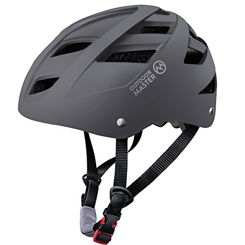 OutdoorMaster Multisport Helmet for Child & Youth - Adjustable Size & Washable Lining - 21 Vents Ventilation System - S - Grey