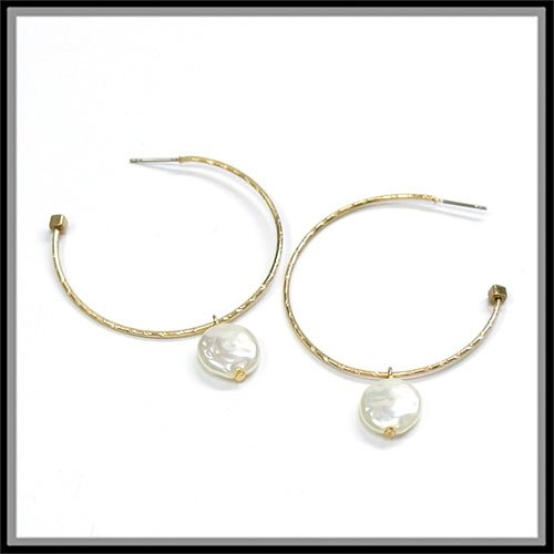 Coin Textured Pearl - Women's Worn Gold Textured Hoop Earrings with Ivory Coin Imitation Pearl Drop.