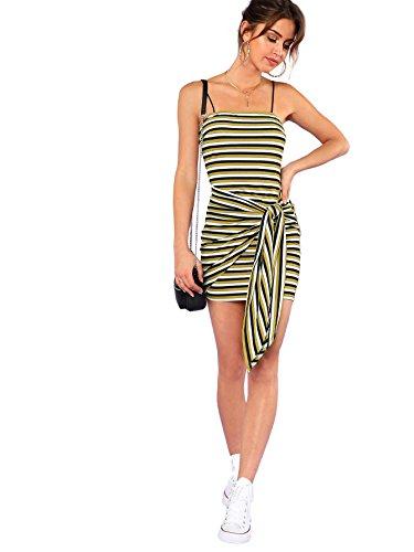 Floerns Women's Spaghetti Strap Striped Bodycon Mini Dress Green M (Spaghetti Strap Knit Dress)