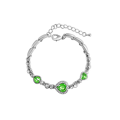 The Starry Night Heart of Ocean Diamond Accented Romantic Silver Link Bracelet (Lobster Clasp,18k,green)