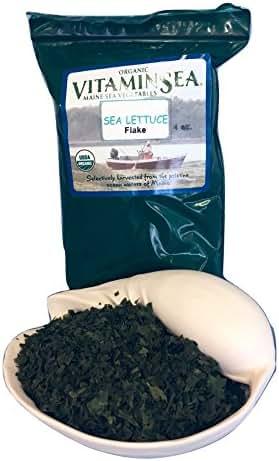 VITAMINSEA Organic Sea Lettuce Flakes - Seaweed 4 oz / 112 G Green Laver Sea Vegetables - USDA & Vegan Certified - Kosher - For Keto Diet - Raw Wild Maine Coast Atlantic Ocean Algas Marinas (SLF4)