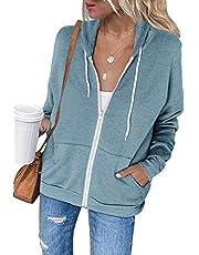 osazic Women Long Sleeve Cardigan Zip-Up Hoodie Jacket Sweatshirt Top Outwear Coat with Pocket S-2XL